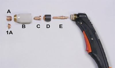 Hình ảnh các bộ phận của 1 loại mỏ cắt plasma thực tế