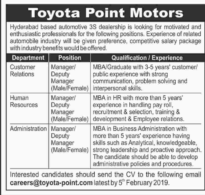 Toyota Point Motors Hyderabad Latest Jobs 2019
