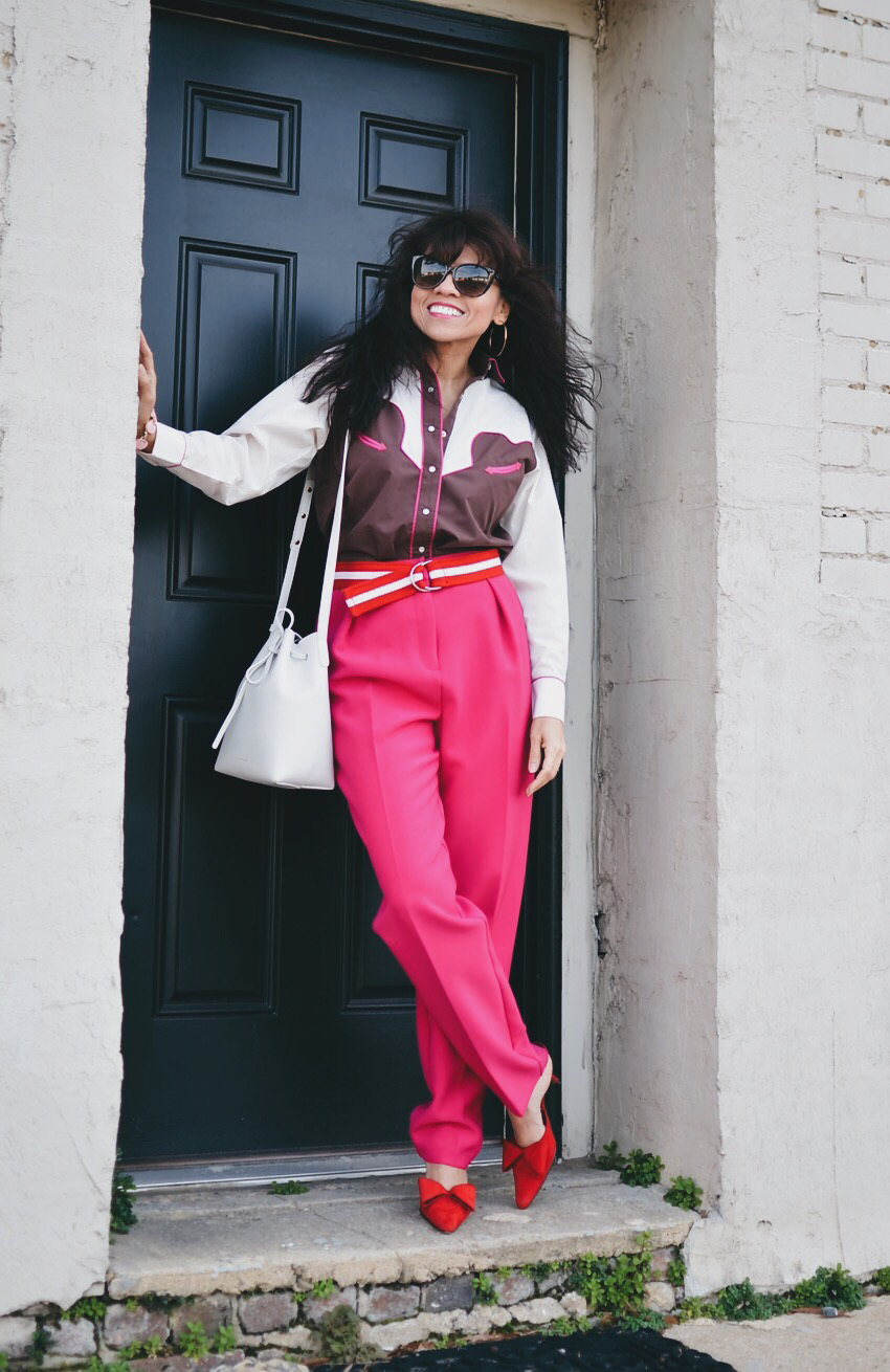 Pink and red street style