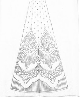 Lehenga design patterns pencil sketch on tracing paper for hand emroidery and machine embroidery design.