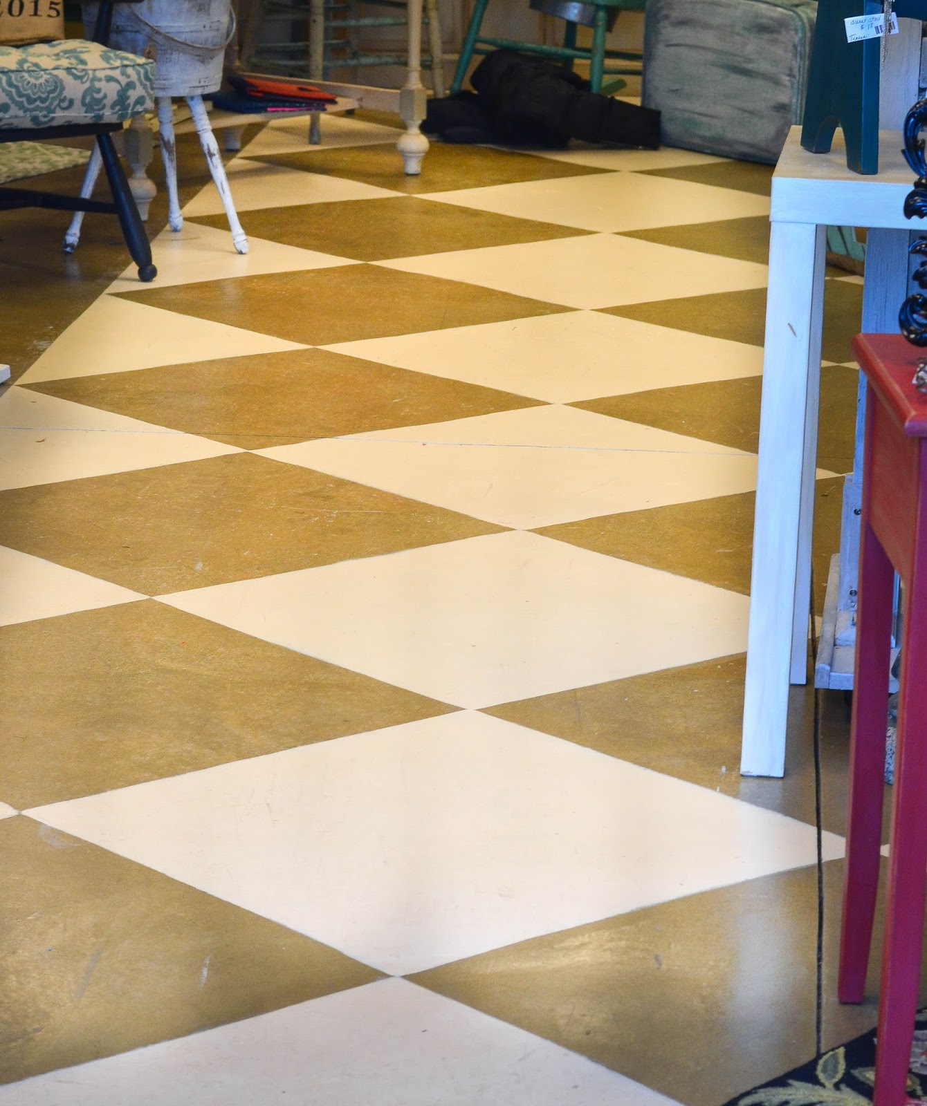 Down to Earth Style: Cement Diamond Painted Floors and Shop Pics