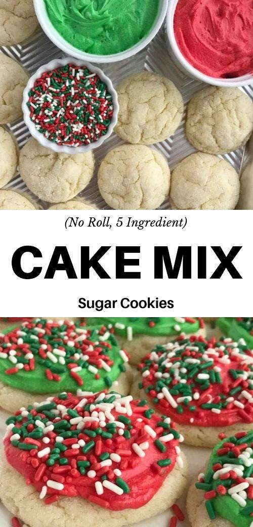 (No Roll, 5 Ingredient) Cake Mix Sugar Cookies