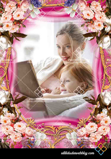Marco para fotos del día de la madre con estilo floral