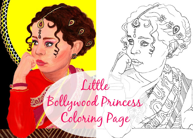 Indian girl coloring page + acrylic portrait painting process in photos and in a speed painting video.