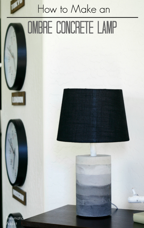 modern diy ombre concrete table lamp