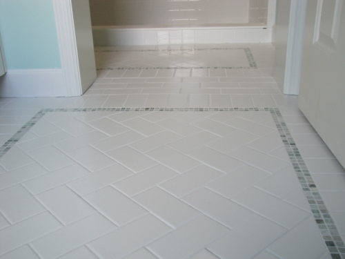 Color outside the lines powder room floors and walls - How to put down tile in bathroom ...