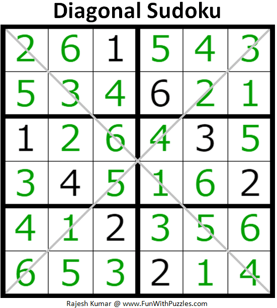 6x6 Diagonal Sudoku Puzzles Mini Sudoku Series 115 116 Fun With