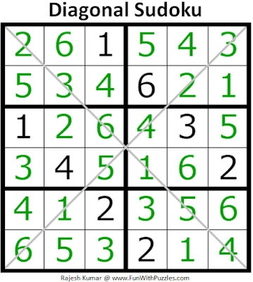 Answer of 6x6 Diagonal Sudoku Puzzle (Mini Sudoku Series #116)