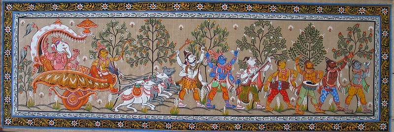 Patta Chitra Painting, showing Ganesha and Shiva, Source: Shakti, Wikipedia
