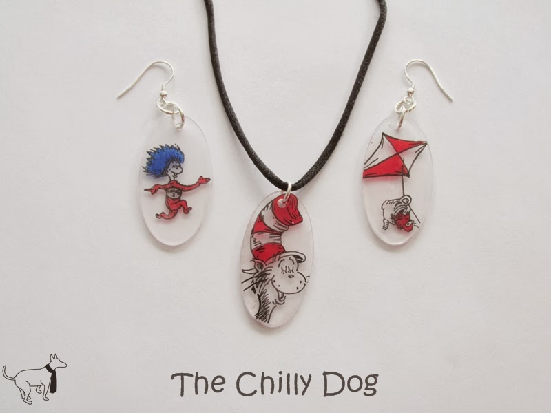 February 2014 Giveaway: Handmade Cat in the Hat jewelry set including a necklace and a pair of earrings
