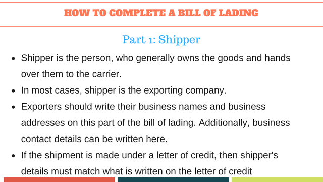 How to complete a bill of lading | Shipper