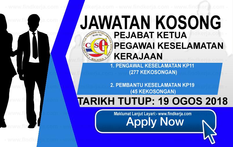 Jawatan Kerja Kosong CGSO - Pejabat Ketua Pegawai Keselamatan Kerajaan Malaysia logo www.ohjob.info www.findkerja.com ogos 2018