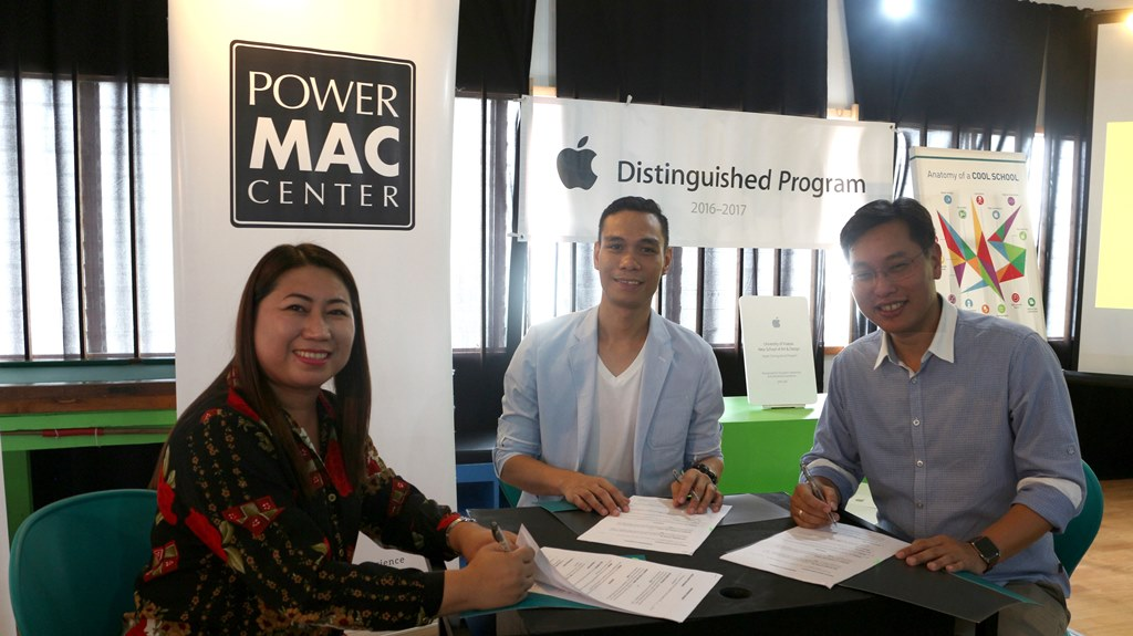 Power Mac Center Training Head Maleng Raysag, UVNS School Director Genesis Raña, and Power Mac Center CEO Lawrence Sison