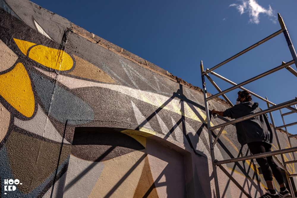 Indian-Canadian artist Fatspatrol at work on an owl mural in Waterford Ireland