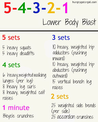 5-4-3-2-1 Lower Body Blast Workout from hungrygatorgal.com