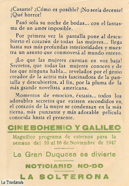 Programa de Cine - La Solterona - Bette Davis - Miriam Hopkins - George Brent