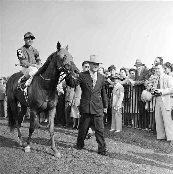Jockey Eddie Arcaro aboard Whirlaway at the Belmont Stakes 7 June 1941 worldwartwo.filminspector.com