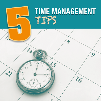 poster with clock and calendar.  Text: Time management tips