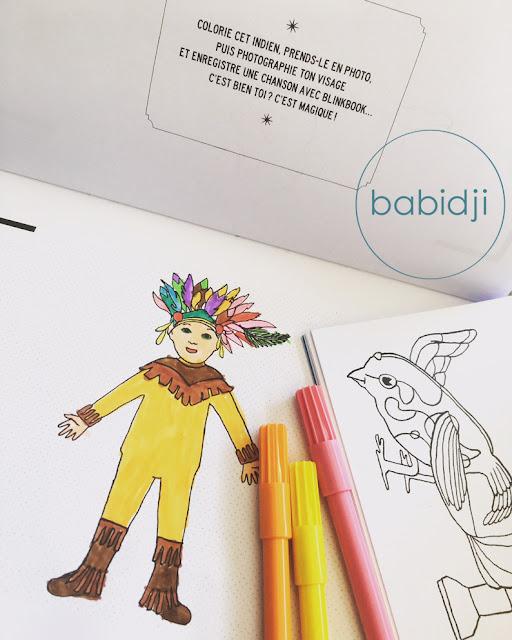 coloriages d'indien et d'oiseau pour les enfants avec des feutres