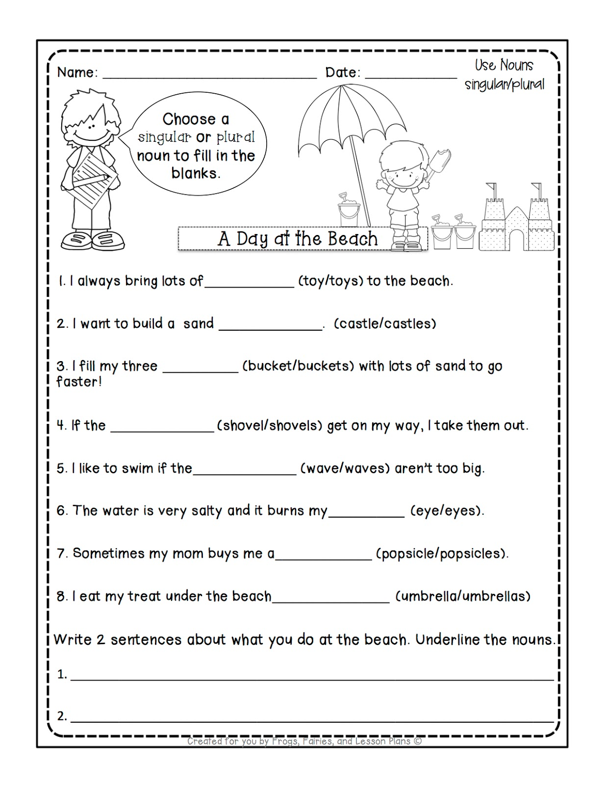Frogs Fairies and Lesson Plans 5 Noun Lessons You Need to Teach – Singular Plural Nouns Worksheet