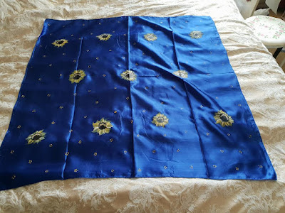 Fabric painting from Jackie - such a beautiful scarf and our Sunflower design looks great against the blue fabric