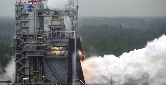 NASA conducts a test of RS-25 flight engine No. 2062 on April 4 on the A-1 Test Stand at Stennis Space Center near Bay St. Louis, Miss. The test marked a major milestone in NASA's march forward to Moon missions. All 16 RS-25 engines that will help power the first four flights of NASA's new Space Launch System rocket now have been tested. Credits: NASA/SSC