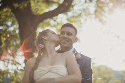 bride and groom kissing, outdoor wedding, north carolina wedding, sunset wedding portraits
