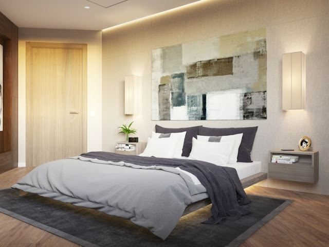 floor and ceiling indirect lights in a bedroom