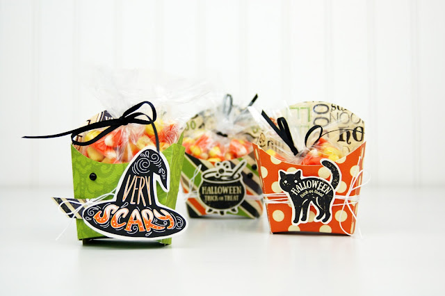 Die cut Halloween Treat Boxes with www.jengallacher.com. #halloween #diecutting #treatbox #halloweencraft