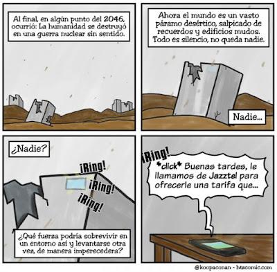 Meme de humor sobre el postapocalipsis y el telemarketing