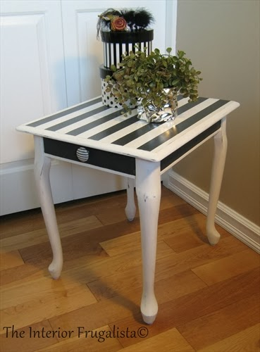Queen Anne end table After makeover with stripes