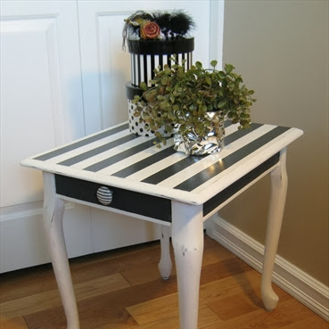 Queen Anne Black and White Stripe End Table Makeover