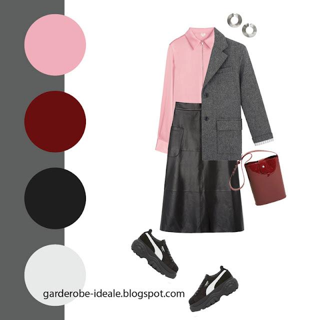 Серый жакет оверсайз с атласной блузкой и кожаной юбкой