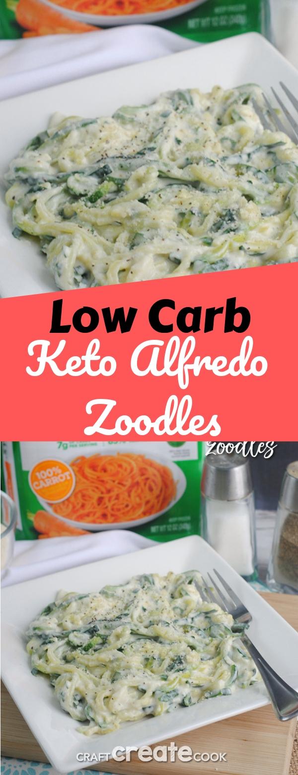 Low Carb Keto Alfredo Zoodles #lowcarb #keto