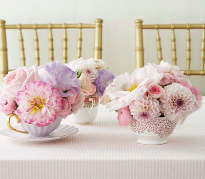 pink vintage teacup centerpieces