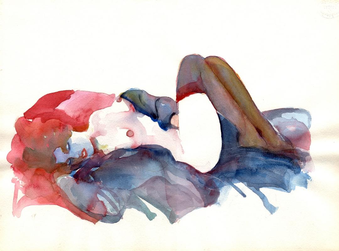 Acuarela sensual de mujer desnuda