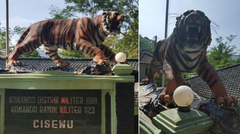 Patung baru harimau di Koramil Cisewu