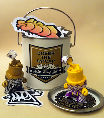 """Cover The Cap"" 3 Inch FatCap Artist Proof Set by Sket One - LA Edition ""Cover The Cap"" FatCap & the North America Exclusive Case Incentive Gold ""Cover The Cap"" FatCap"