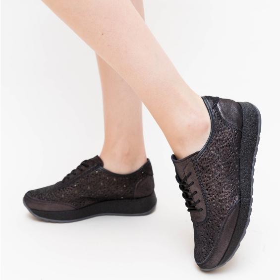 Pantofi Casual dama piele naturala Negri foarte ieftini
