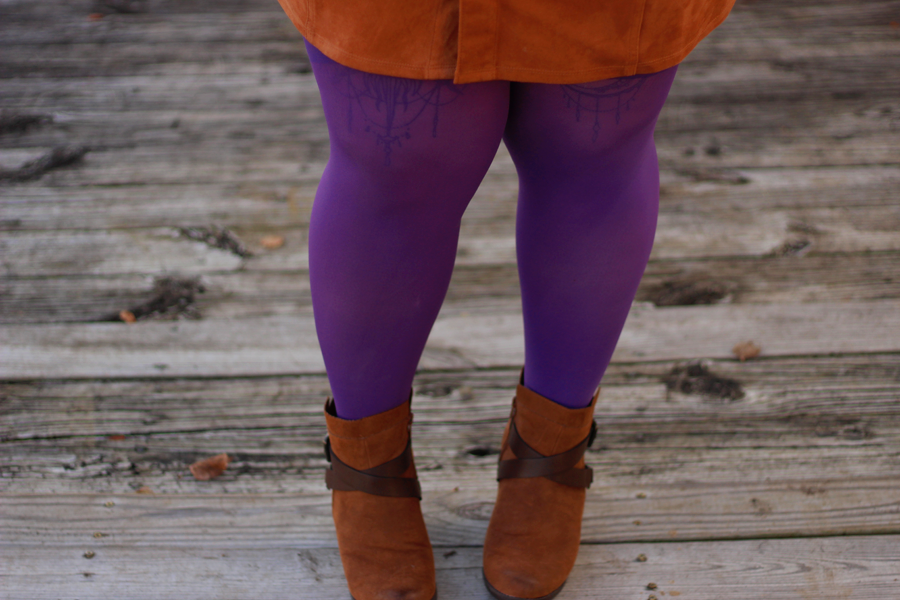 purple tights, brown booties, suede, fall fashion