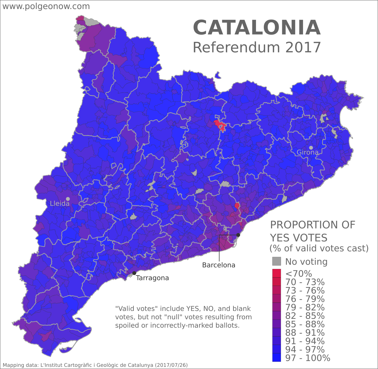 Catalan referendum 2017 map: Detailed, municipality-level map of results in Catalonia's disputed October 2017 referendum on independence from Spain, showing proportion of YES votes in favor of independence in each municipality. Boundaries of comarques (comarcas) shown. Labels cities of Barcelona, Tarragona, Lleida, and Girona. Colorblind accessible.