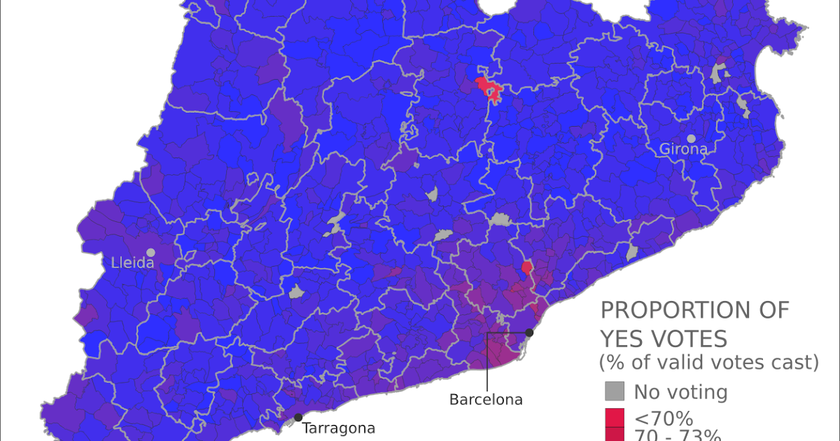 Catalonia Referendum Detailed Results in 5 Maps Political