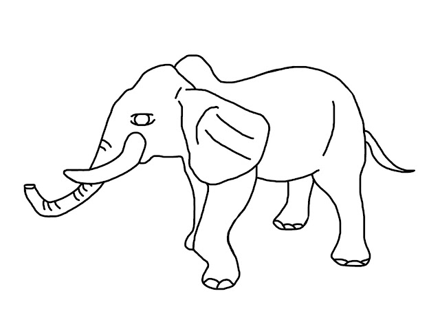 A pencil drawing of an elephant for kids to colour.
