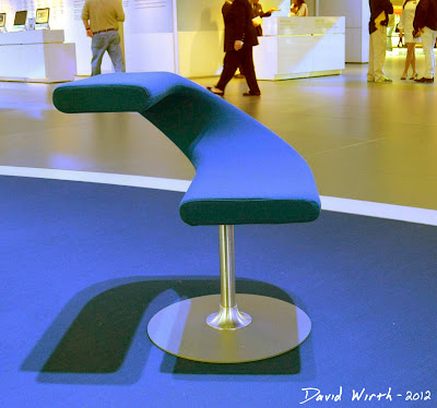 Unique blue chair at the Ford Display