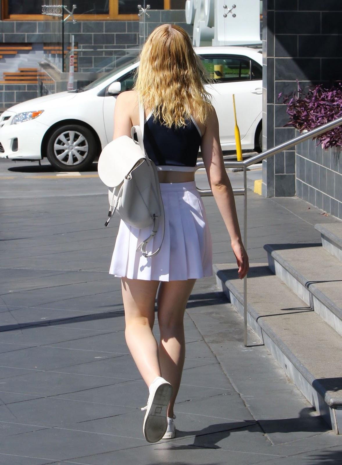 Elle Fanning in White Skirt