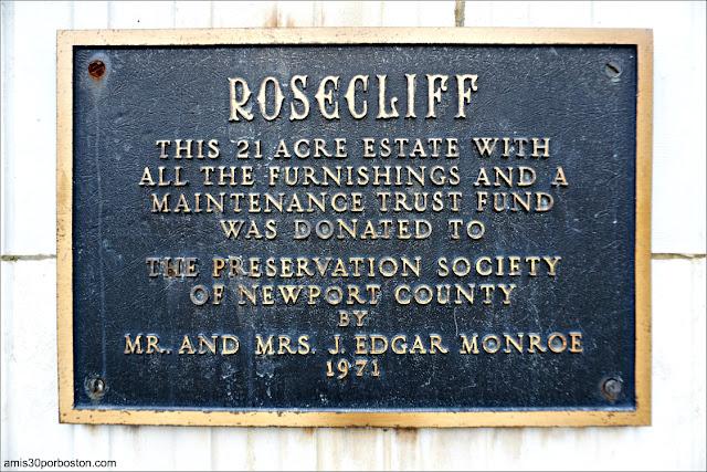 Placa de la Mansión Rosecliff, Newport