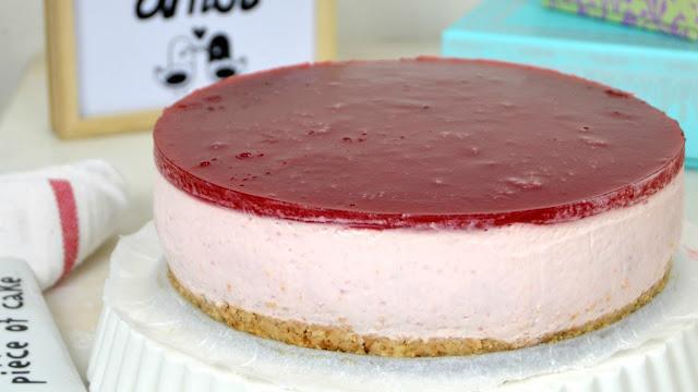 Tarta de yogur de fresa ¡Sin horno!