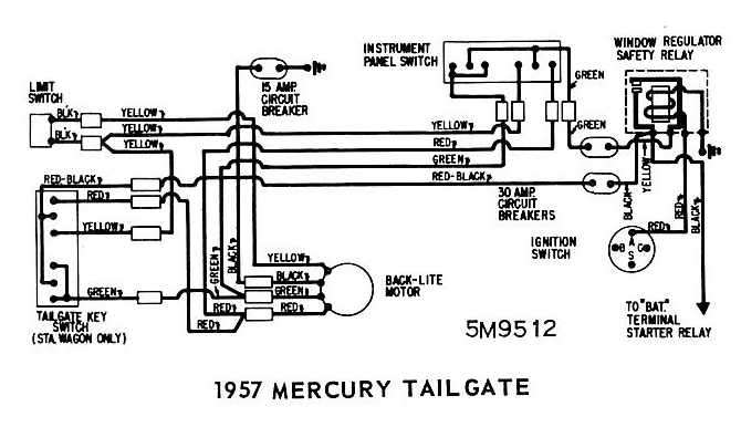 1957 ford station wagon wiring schematic 1957 ford thunderbird underhood wiring schematic mercury colony park tailgate 1957 rear window wiring ...