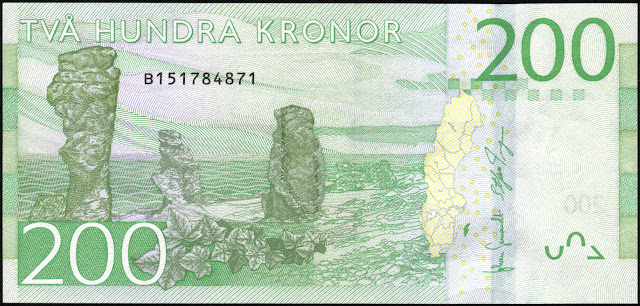 Sweden money currency 200 Krona banknote 2015 Gotland