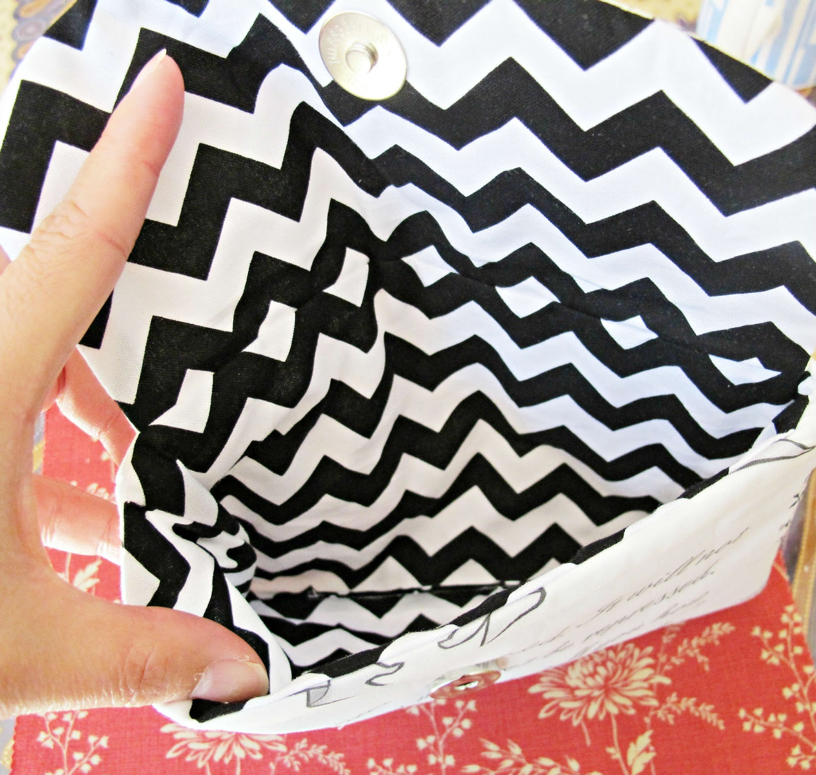 image pride and prejudice wristlet riley blake chevron black and white fabric